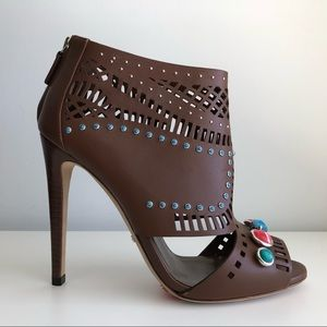 GUCCI LIKA LASER CUT LEATHER STONE DETAILED BOOTIE